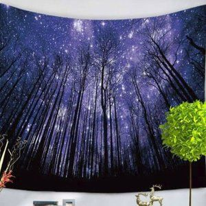 Starry Forest Night Wall Tapestry